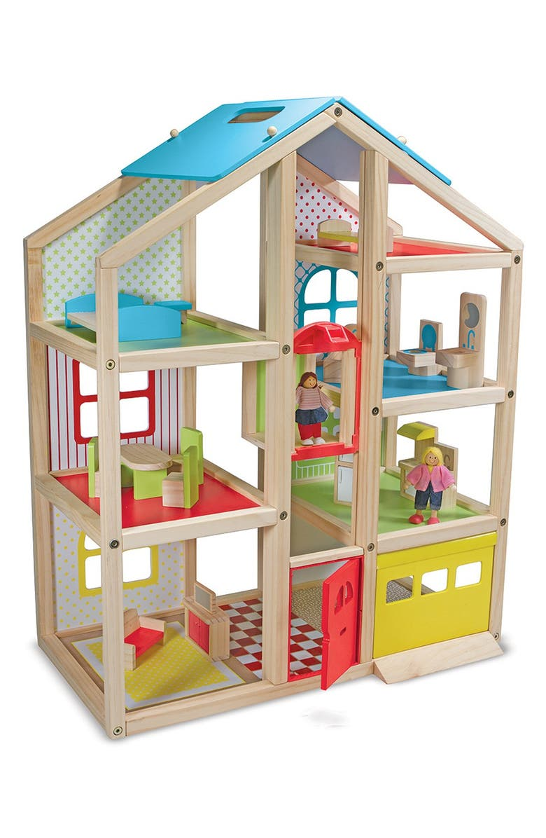 MELISSA AND DOUG High-Rise Doll House, Main, color, RED MULTI