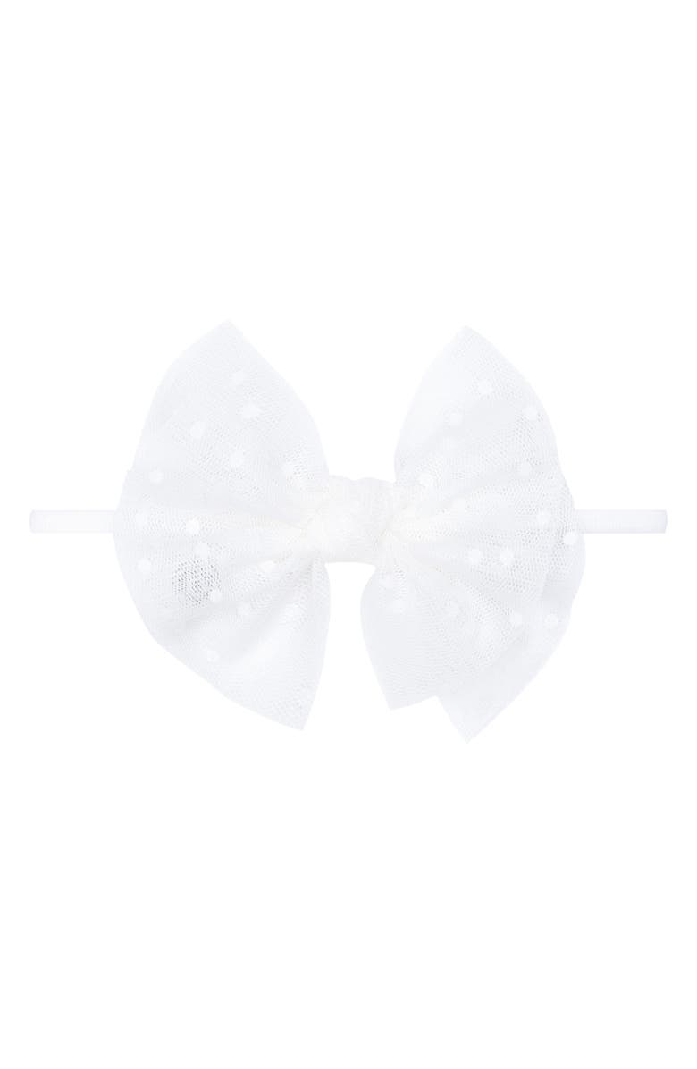 BABY BLING Tulle FAB Bow Headband, Main, color, White