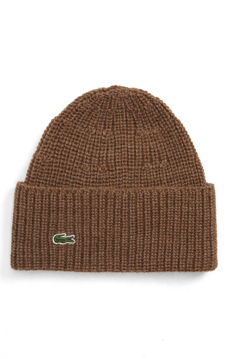 LACOSTE Ribbed Wool Beanie, Main, color, 211