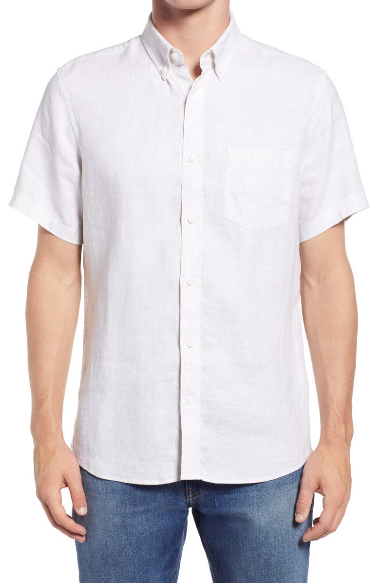 NORDSTROM Solid Linen Short Sleeve Button-Down Shirt, Main, color, 025