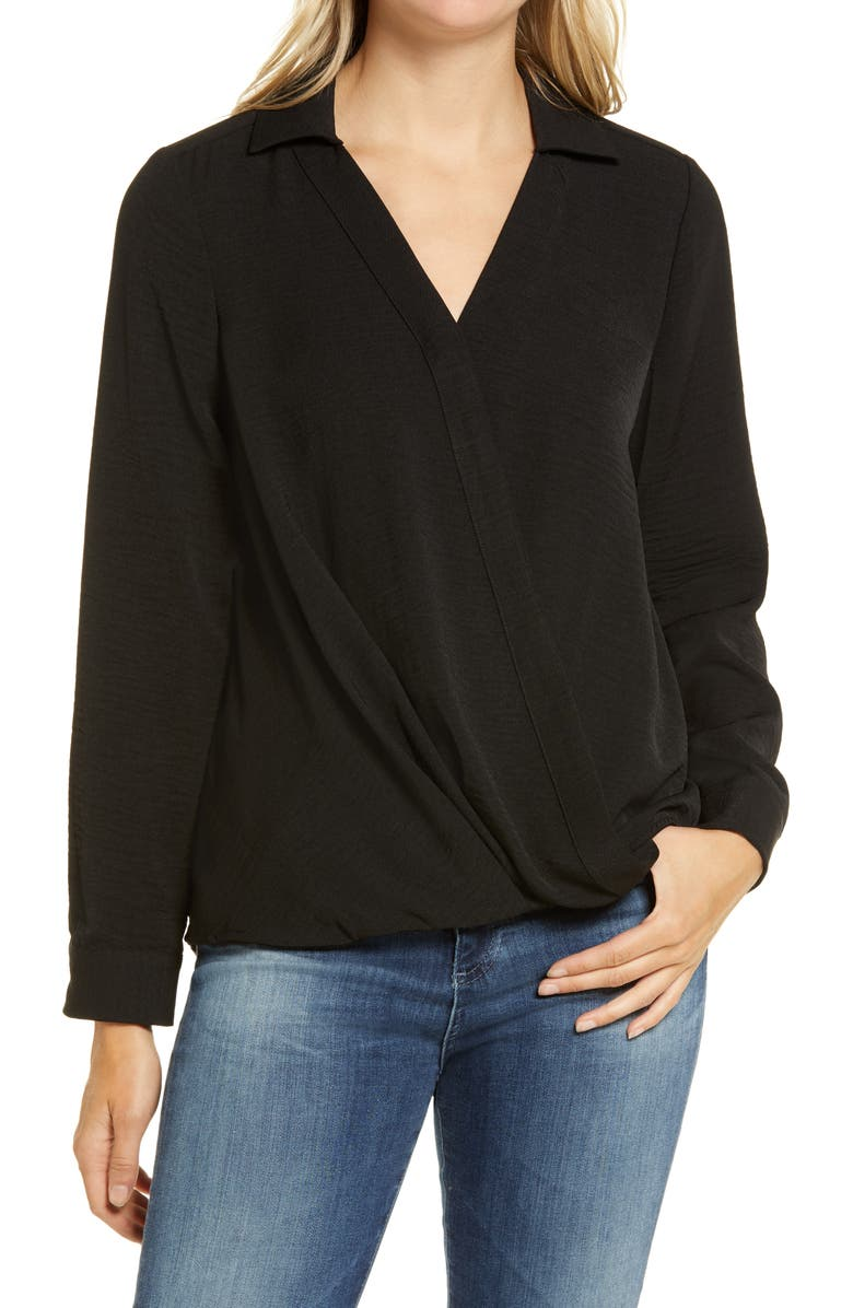 VINCE CAMUTO Wrap Front Rumple Twill Blouse, Main, color, RICH BLACK