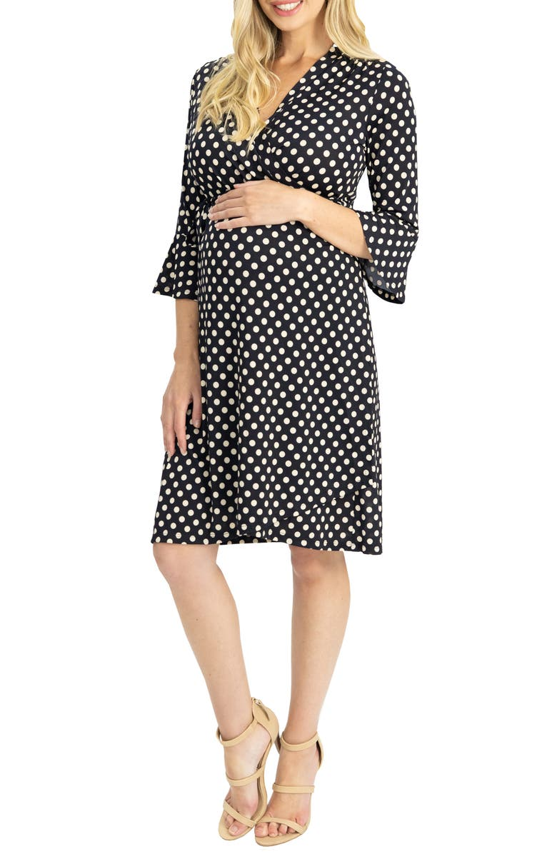 ANGEL MATERNITY Polka Dot Maternity/Nursing Dress, Main, color, Black