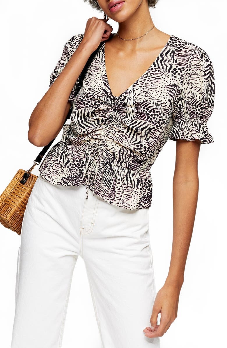 TOPSHOP Margot Animal Print Ruched Top, Main, color, 001