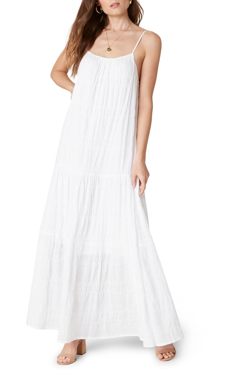 BB DAKOTA BY STEVE MADDEN Tiered Voile Maxi Dress, Main, color, Optic White