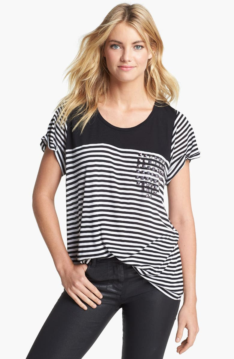 TWO BY VINCE CAMUTO Studded Stripe Tee, Main, color, 001