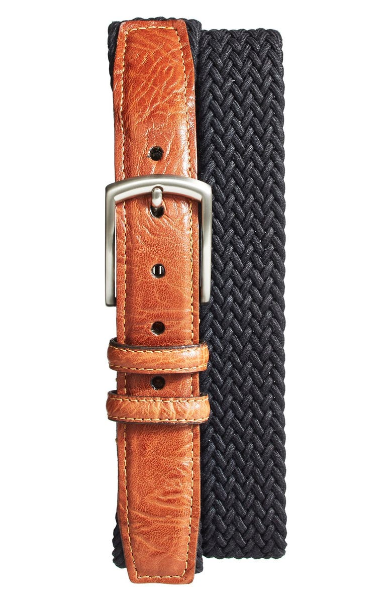 TORINO Braided Stretch Cotton Belt, Main, color, Black