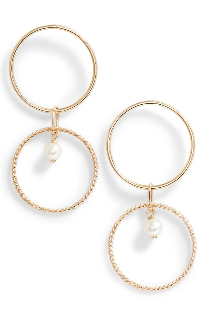 POPPY FINCH Pearl Double Hoop Earrings, Main, color, 710