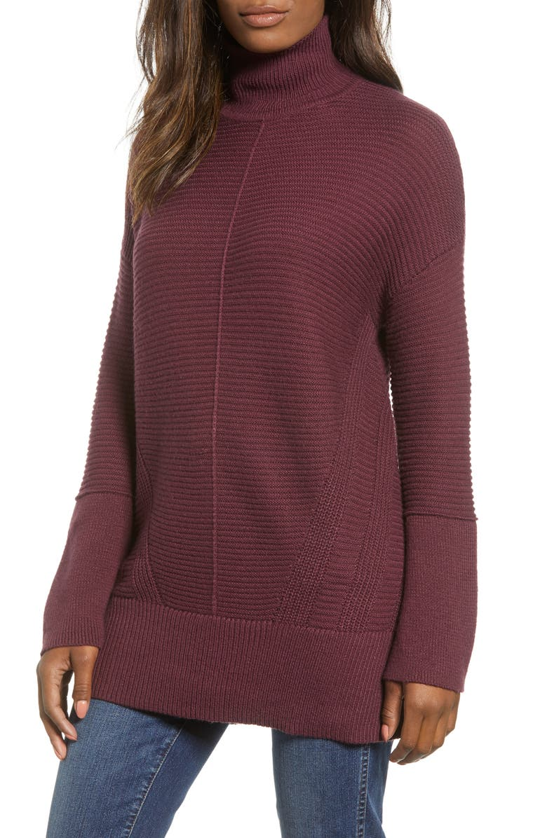 CASLON<SUP>®</SUP> Ribbed Turtleneck Tunic Sweater, Main, color, 930
