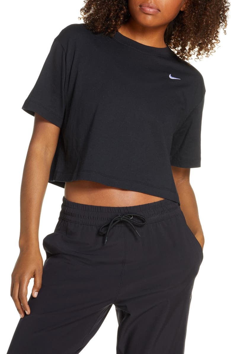 NIKE Sportswear Essential Crop Organic Cotton Tee, Main, color, 010