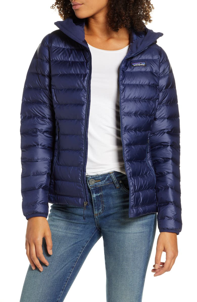 PATAGONIA Quilted Water Resistant Down Coat, Main, color, CLASSIC NAVY