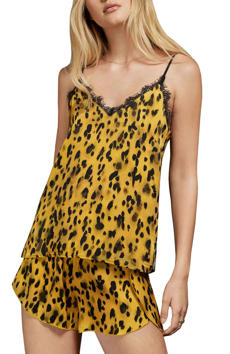 ANINE BING Golden Leopard Silk Charmeuse Camisole, Main, color, 700