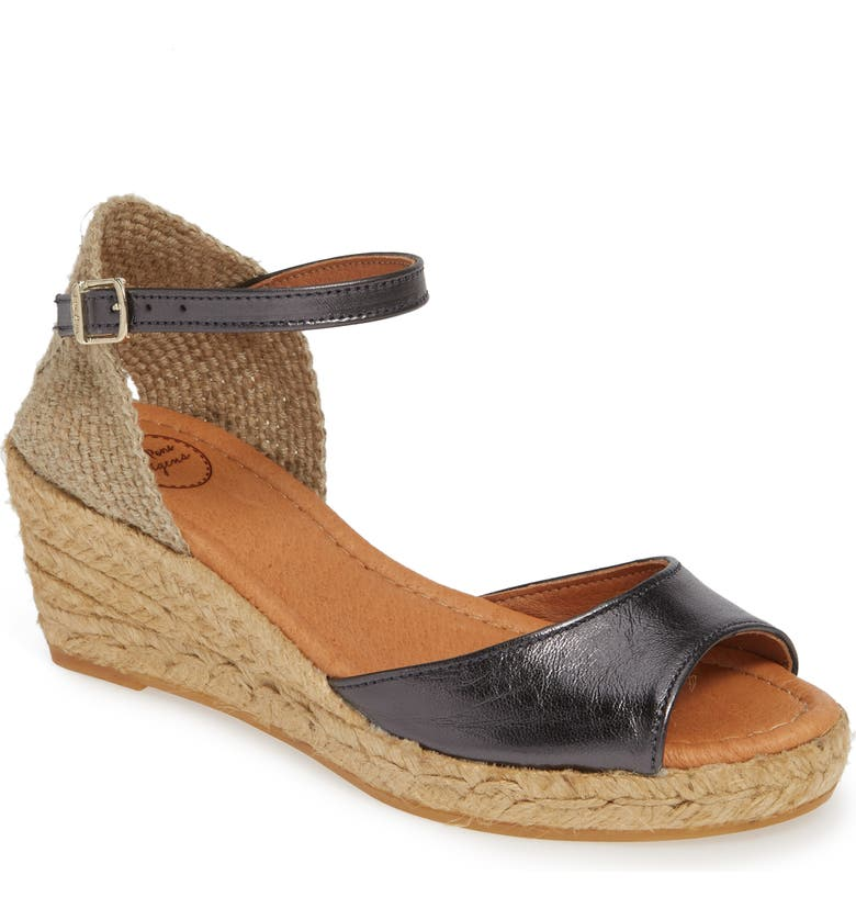 TONI PONS Llivia Wedge Sandal, Main, color, LEAD LEATHER