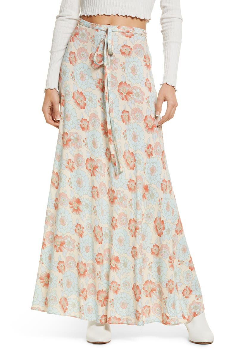 FREE PEOPLE That's a Wrap Print Maxi Skirt, Main, color, SKY COMBO