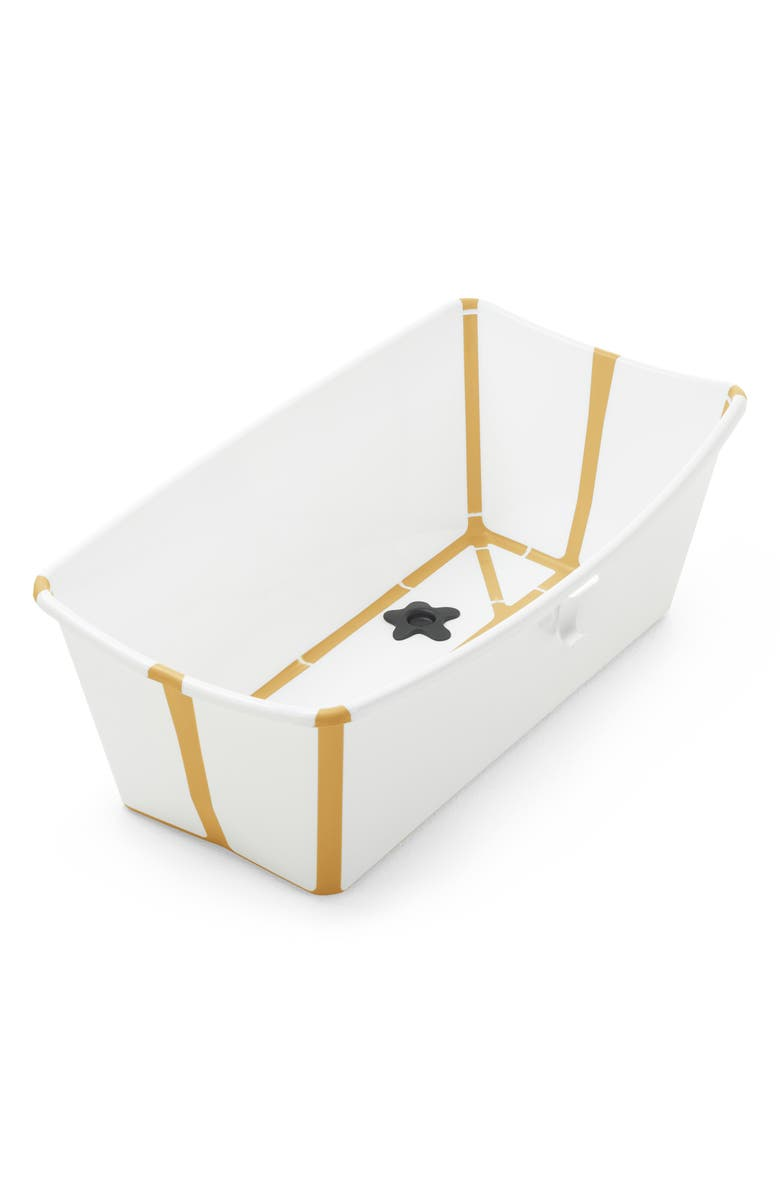 STOKKE Flexi Bath<sup>®</sup> Foldable Baby Bathtub with Temperature Plug, Main, color, WHITE YELLOW
