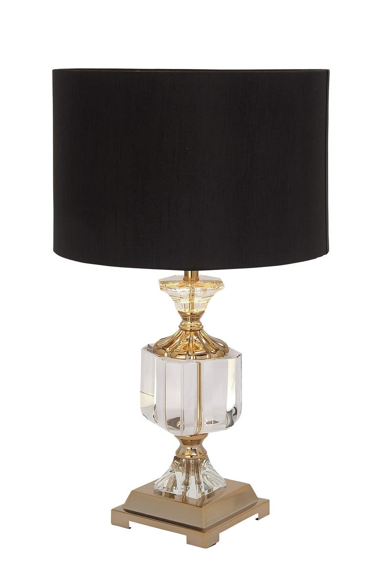 WILLOW ROW Gold Crystal Glam Table Lamp, Main, color, GOLD