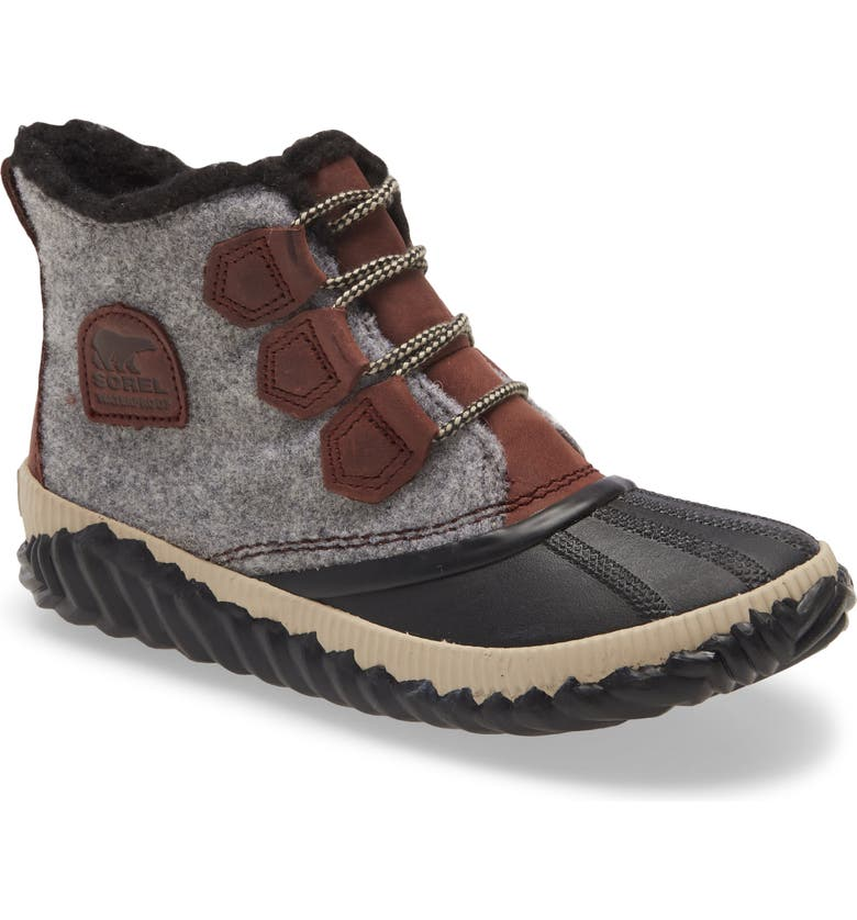 SOREL Out N About Plus Waterproof Bootie, Main, color, REDWOOD