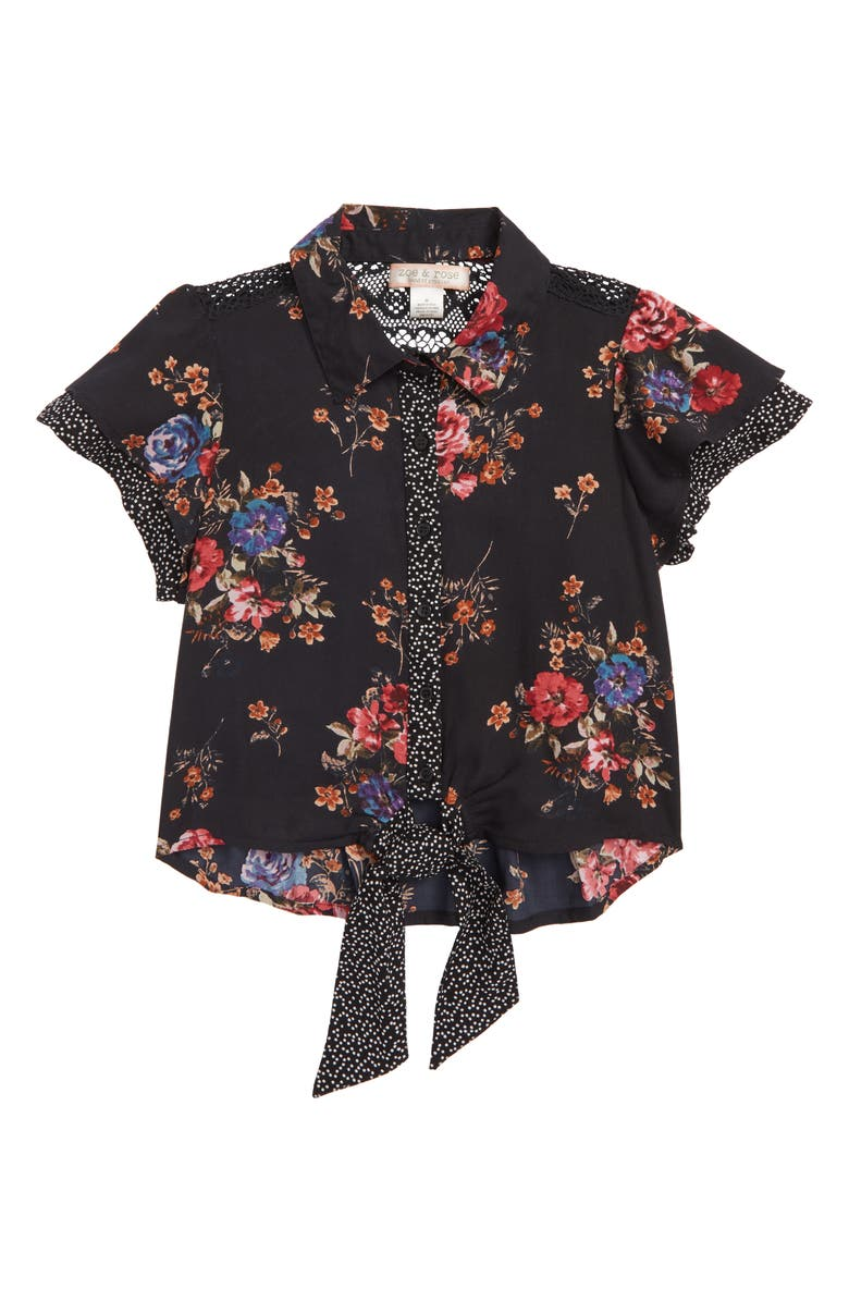 ZOE AND ROSE Tie Waist Top, Main, color, BLACK/ CORAL