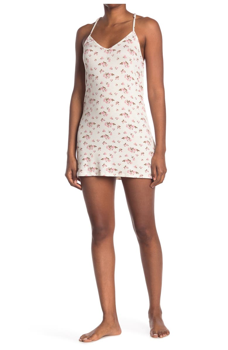 COZY ROZY Just Bloom Lace Back Chemise, Main, color, WHITE
