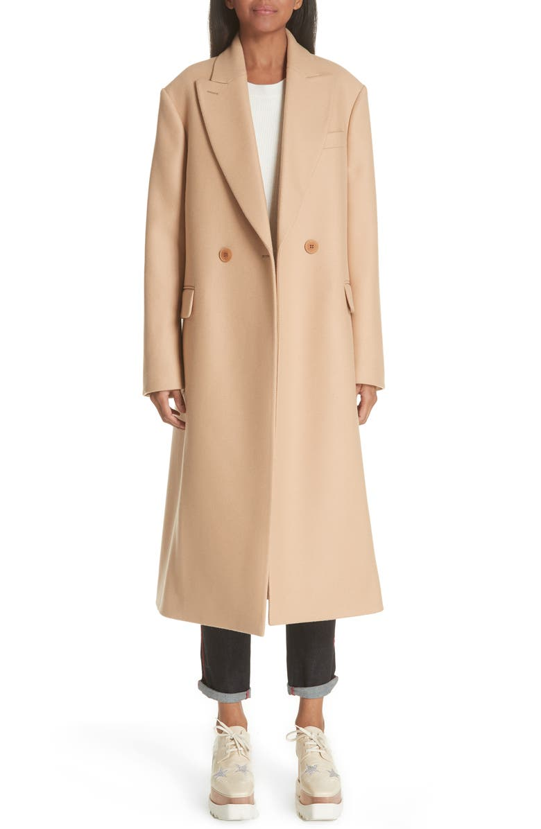 STELLA MCCARTNEY Wool Double Breasted Coat, Main, color, SOFT CAMEL