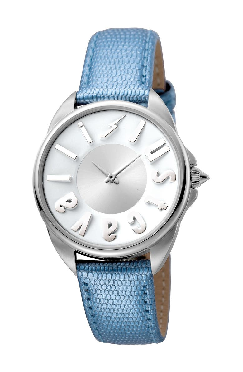 JUST CAVALLI Women's Logo Leather Strap Watch, 34mm, Main, color, BLUE