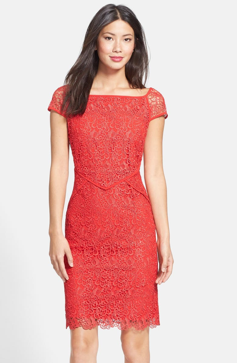 NUE BY SHANI Neon Lace Dress, Main, color, RED
