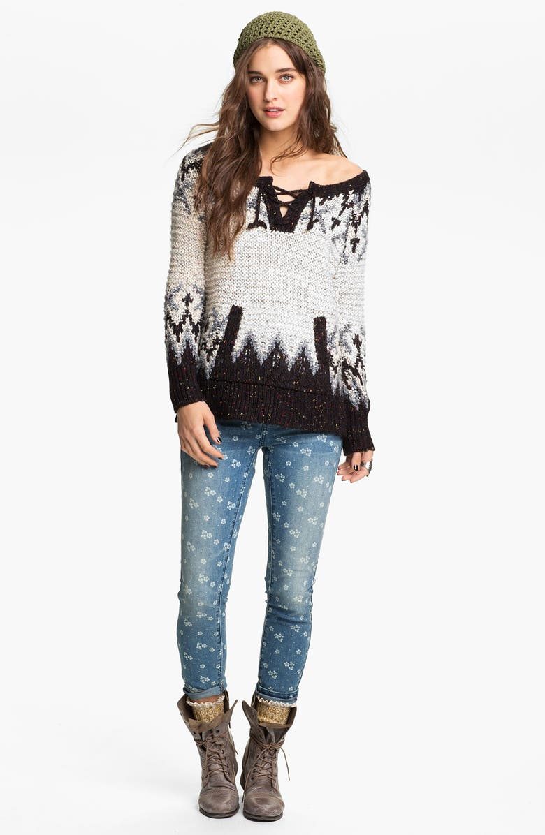 FREE PEOPLE 'Love Bug' Lace-Up Nordic Sweater, Main, color, NORDIC WOODS COMBO