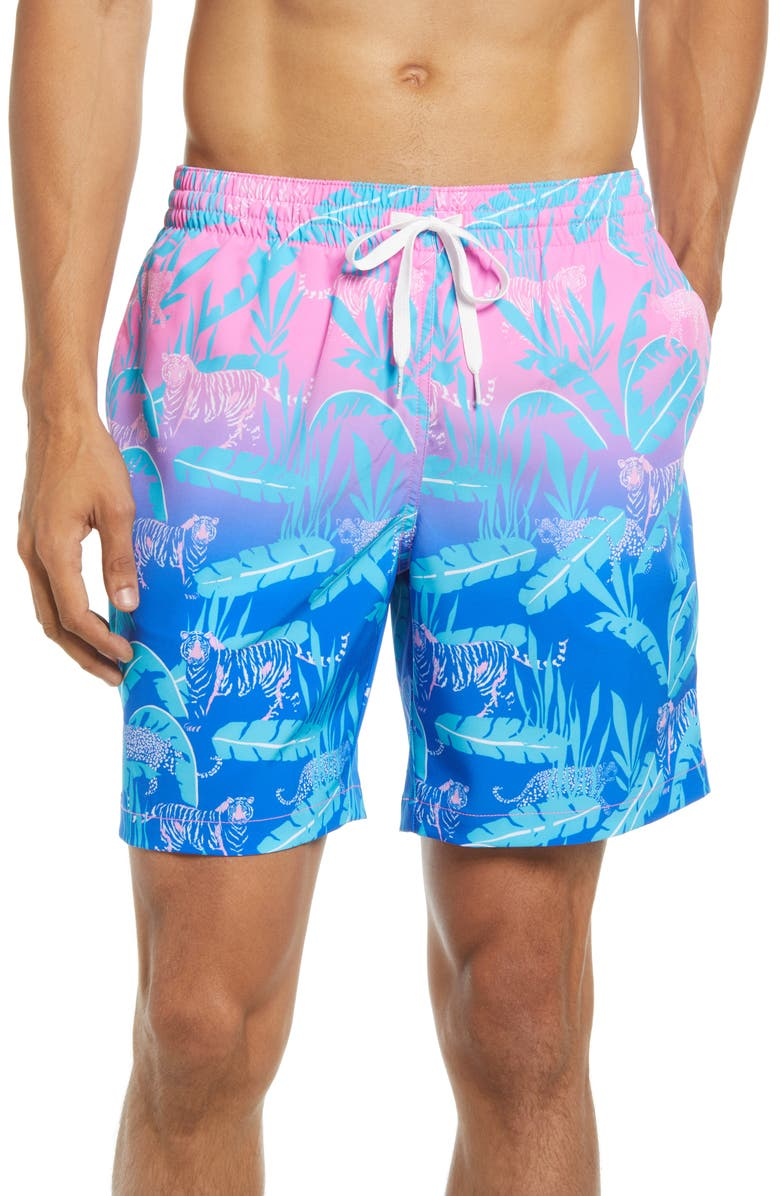 CHUBBIES The Hydrofoils 7-Inch Swim Trunks, Main, color, BRIGHT PINK