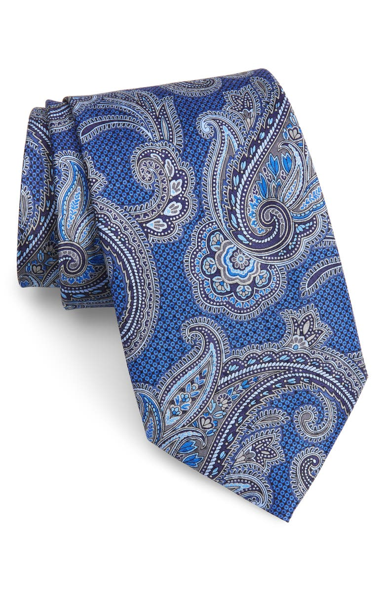 NORDSTROM Men's Shop Paisley Silk X-Long Tie, Main, color, 414