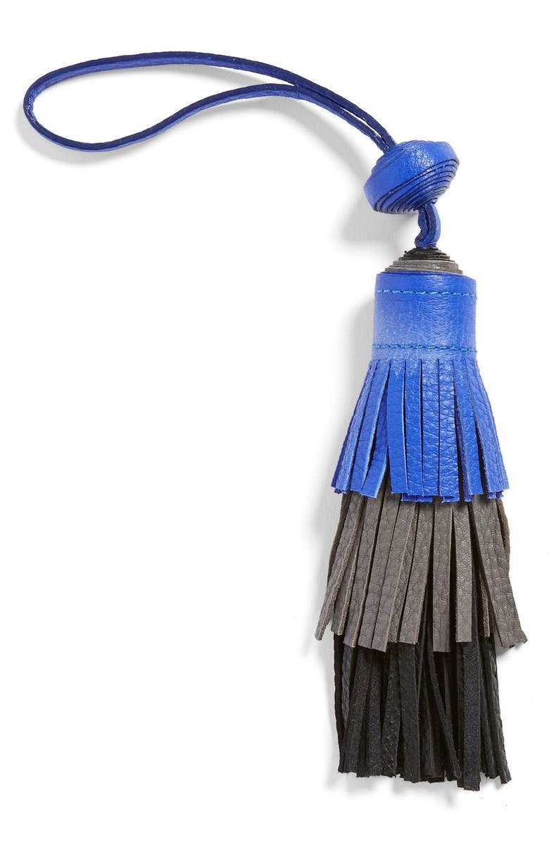 VINCE CAMUTO Tiered Leather Tassel Bag Charm, Main, color, ULTRA VIOLET/FROST GRAY/BLACK
