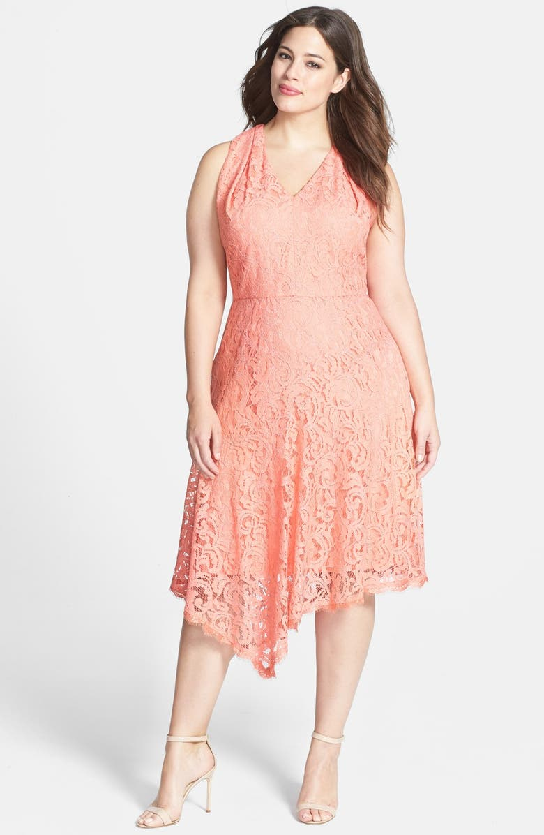 ADRIANNA PAPELL Peekaboo Detail V-Neck Lace Dress, Main, color, 650