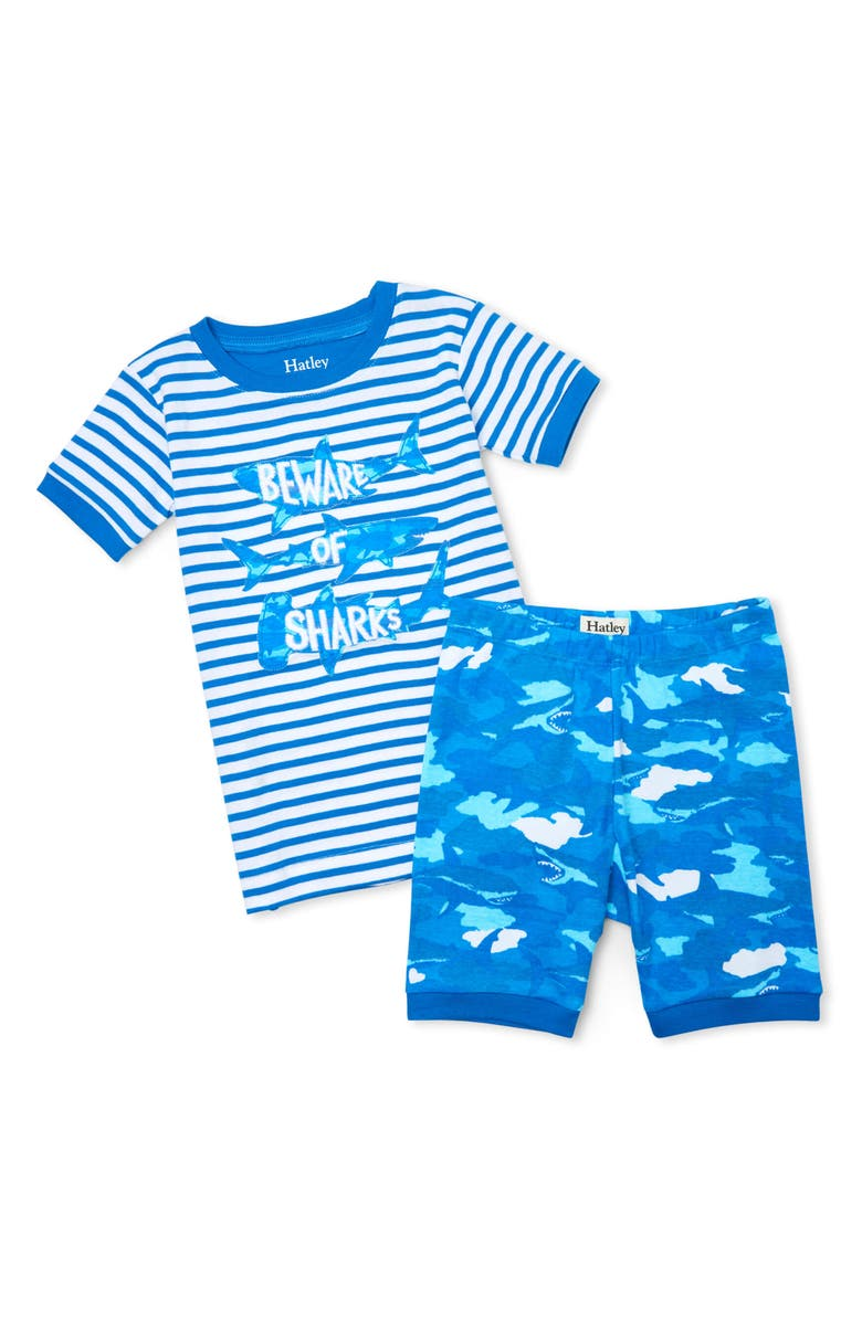 HATLEY Kids' Shark Camo Organic Cotton Fitted Two-Piece Pajamas, Main, color, BLUE