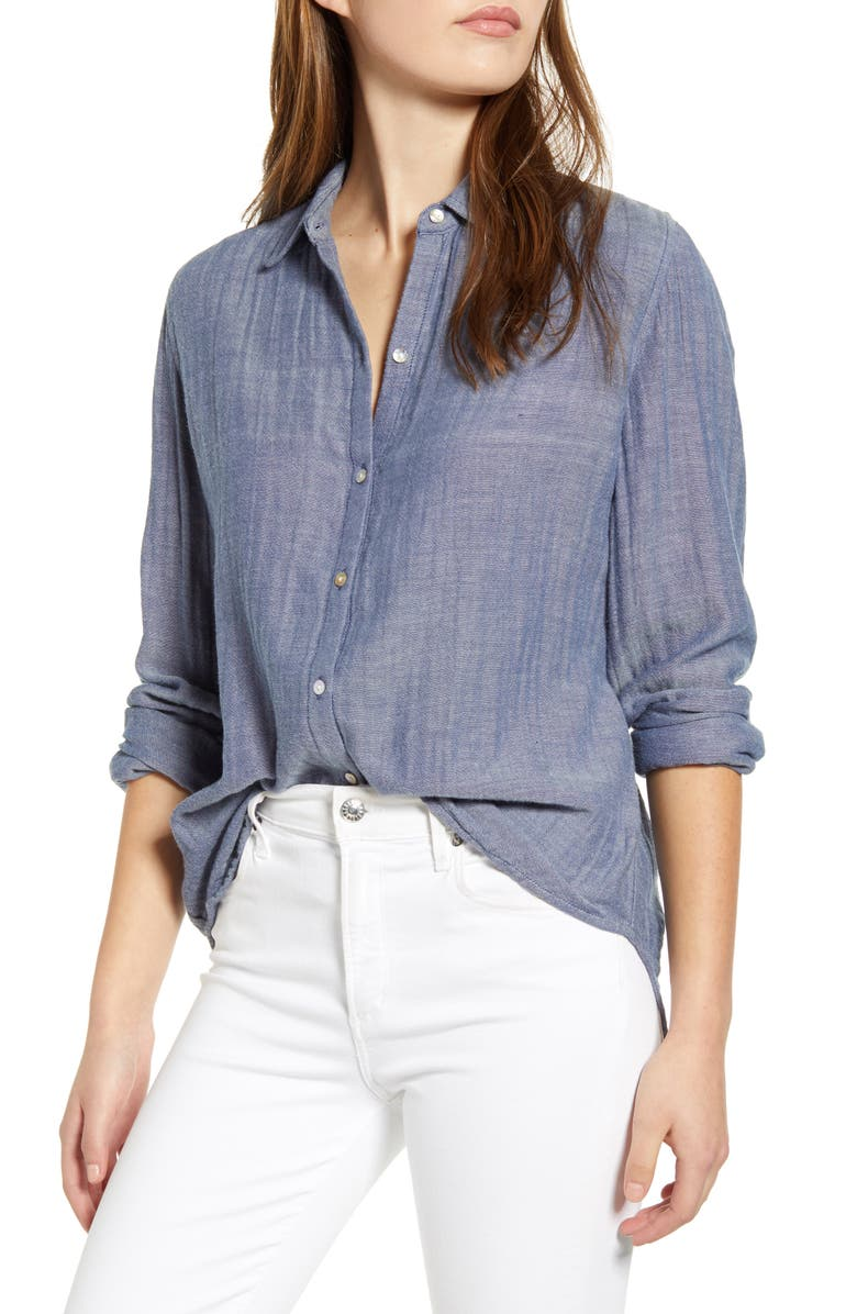 BEACHLUNCHLOUNGE James Chambray Cotton Double Cloth Shirt, Main, color, 405