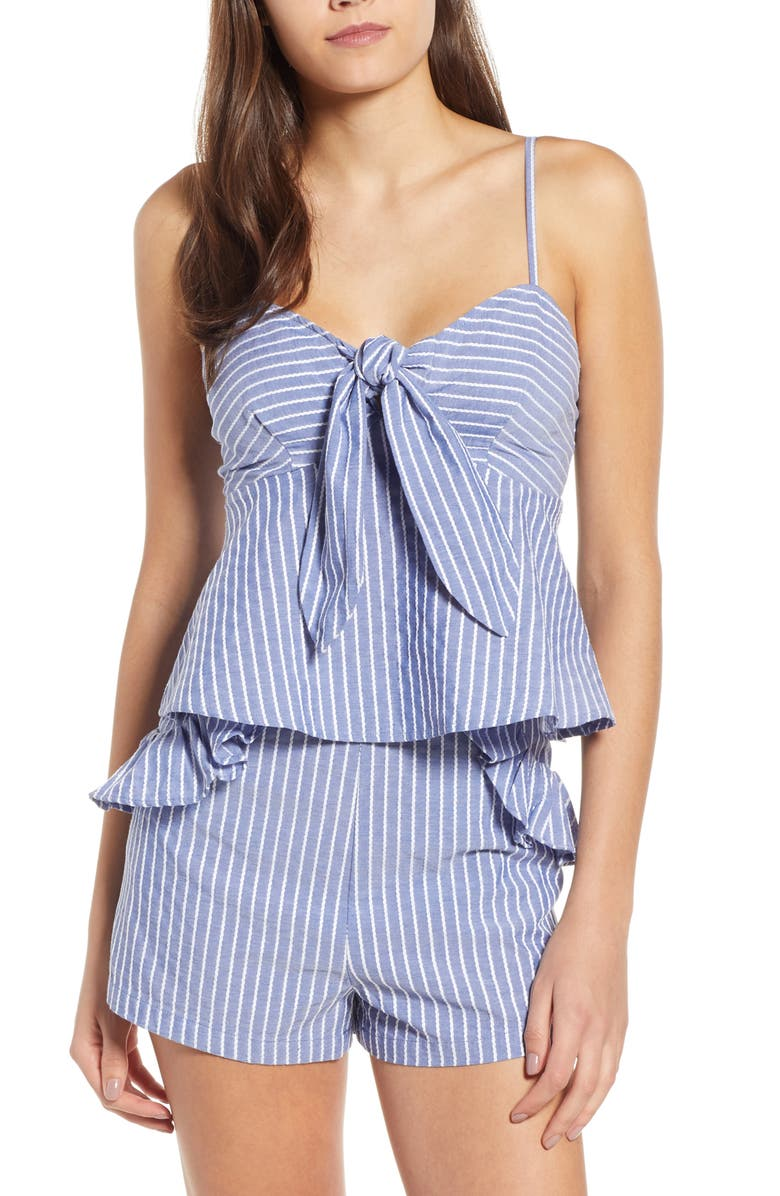 THE FIFTH LABEL Parcel Stripe Tie Front Tank, Main, color, BLUE WITH WHITE