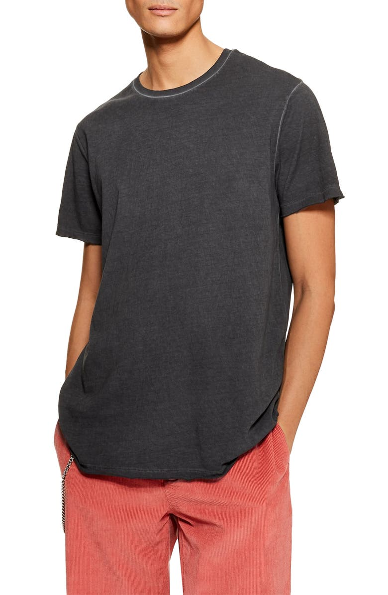 TOPMAN Smoked Classic Fit T-Shirt, Main, color, WASHED BLACK