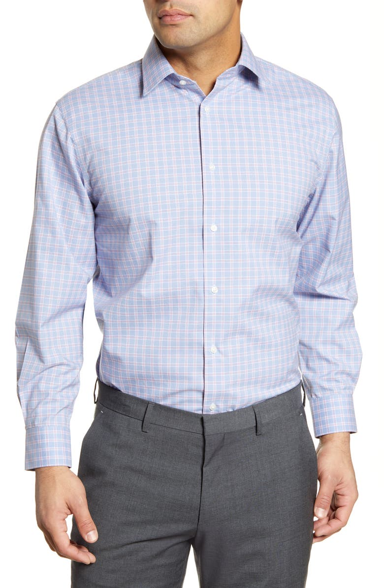 NORDSTROM Men's Shop Traditional Fit Non-Iron Check Dress Shirt, Main, color, 400