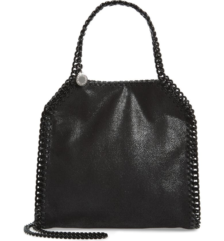 STELLA MCCARTNEY Mini Falabella Shaggy Deer Faux Leather Tote, Main, color, BLACK OUT