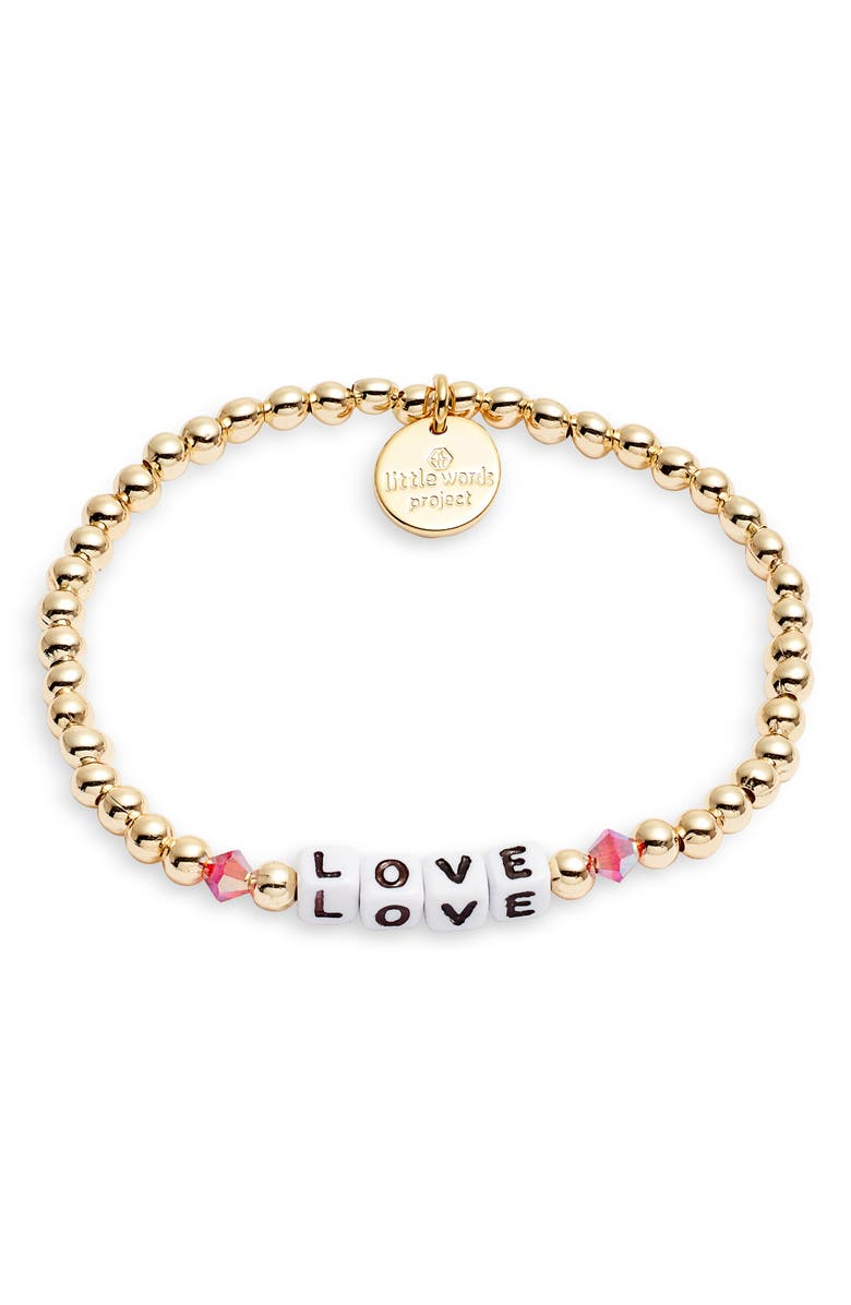 LITTLE WORDS PROJECT Love Beaded Stretch Bracelet, Main, color, GOLD/ WHITE