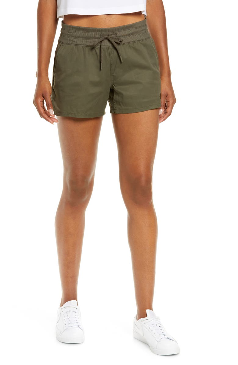 THE NORTH FACE Aphrodite Motion Water Repellent Shorts, Main, color, NEW TAUPE GREEN