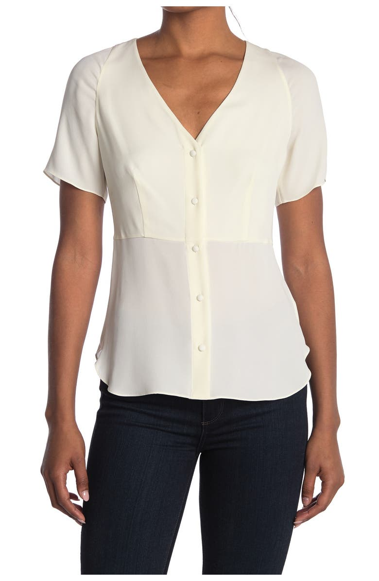 THEORY Be Classic Vested Blouse, Main, color, IVORY