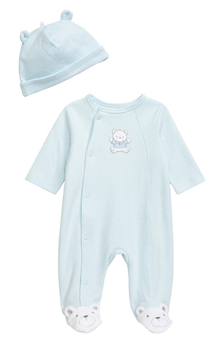 LITTLE ME Cute Bear Footie & Hat Set, Main, color, BLUE