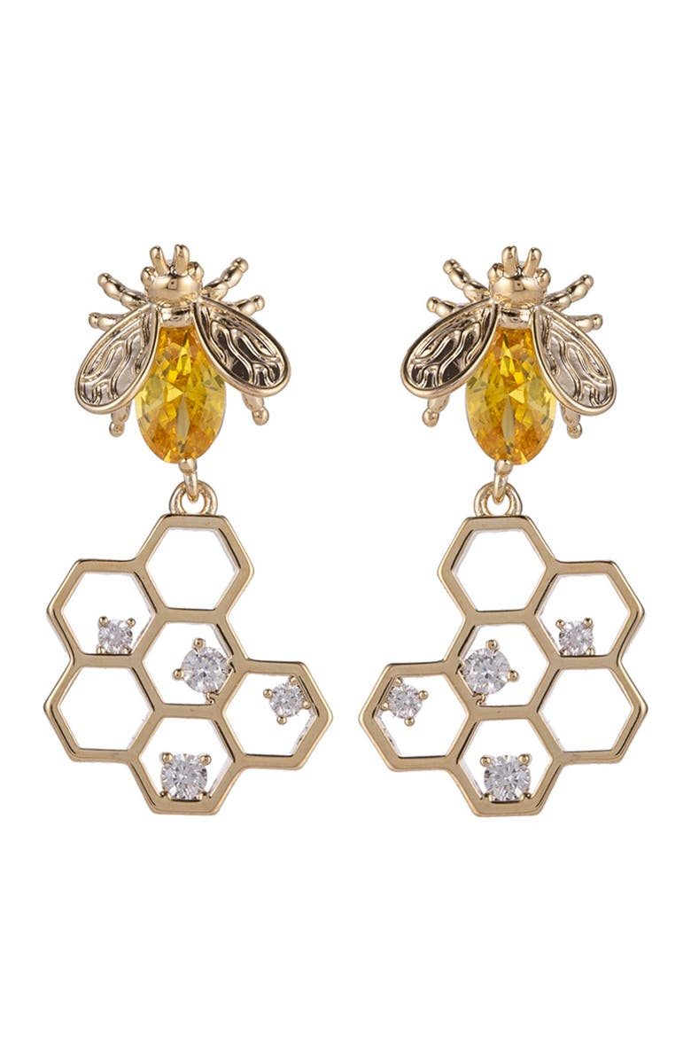 EYE CANDY LOS ANGELES 14K Yellow Gold Plated Brass Golden Honey Bee Drop CZ Crystal Earrings, Main, color, GOLD