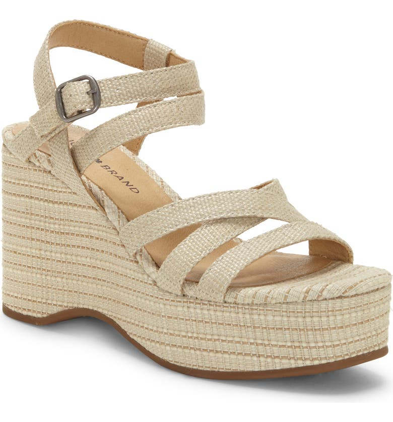 LUCKY BRAND Carlisha Platform Wedge Sandal, Main, color, LIGHT STONE FABRIC