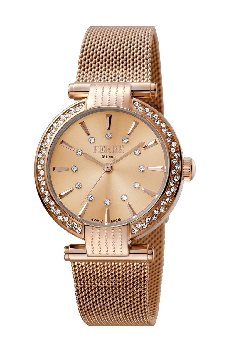 FERRE MILANO Women's Mesh & Stainless Steel Watch, 34mm, Main, color, ROSE GOLD