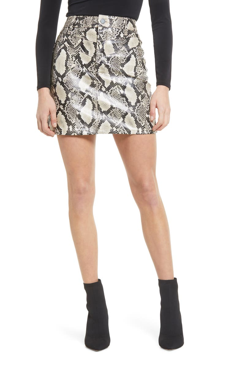 BLANKNYC Double Yoke Snake Print Faux Leather Skirt, Main, color, AGAINST ALL ODDS