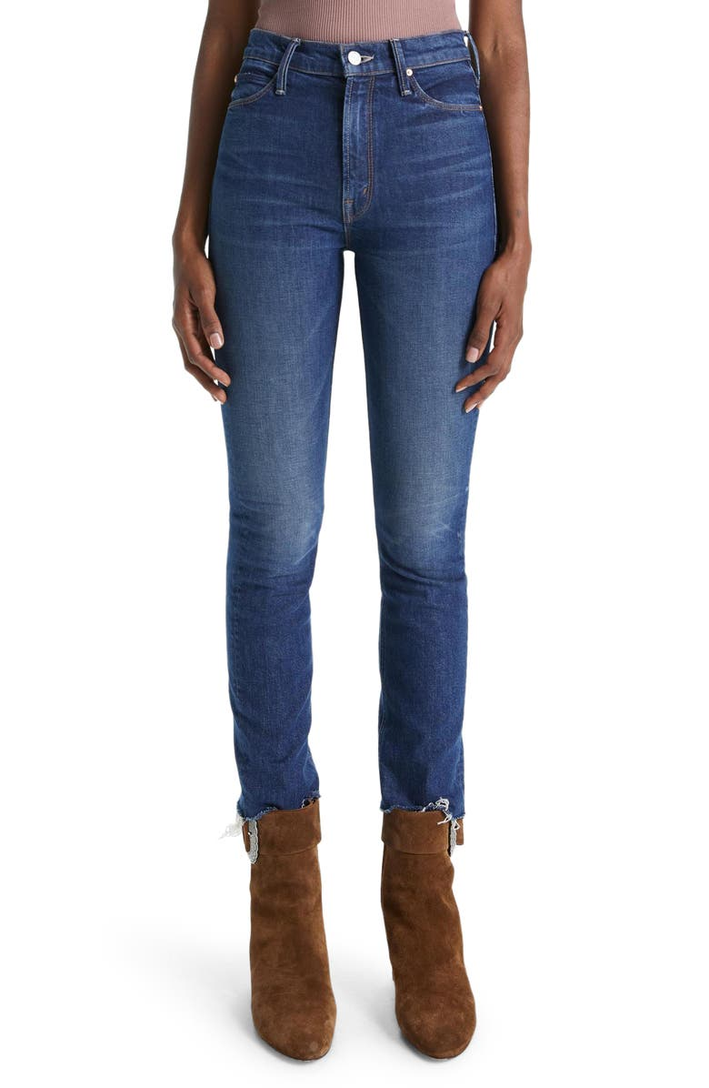 MOTHER The Dazzler High Waist Frayed Ankle Skinny Jeans, Main, color, PAINFULLY OBVIOUS