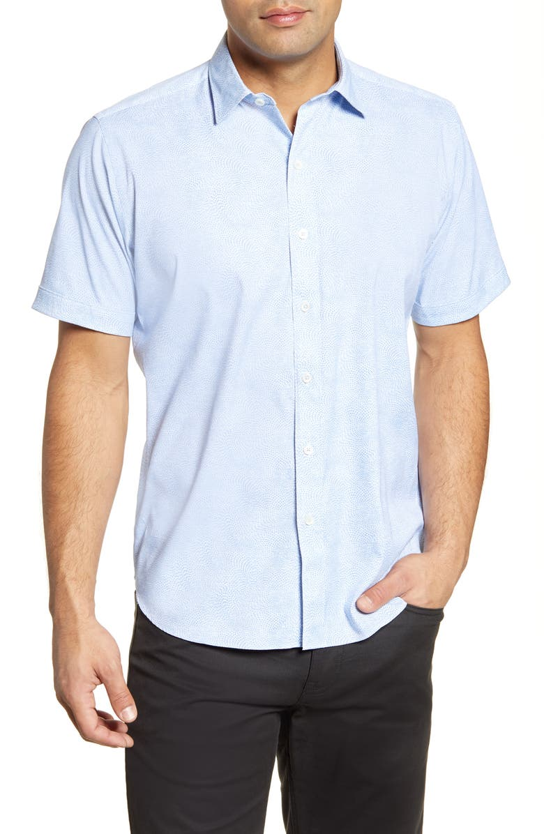 BUGATCHI Classic Fit Short Sleeve Button-Up Performance Shirt, Main, color, 459