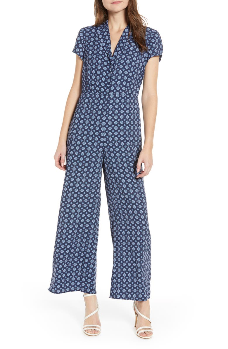 LEITH Print Button Front Jumpsuit, Main, color, NAVY PEACOAT GEO DOT FOULARD