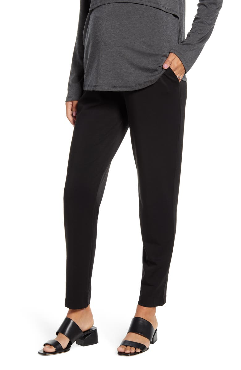 ANGEL MATERNITY Ponte Knit Maternity Pants, Main, color, Black