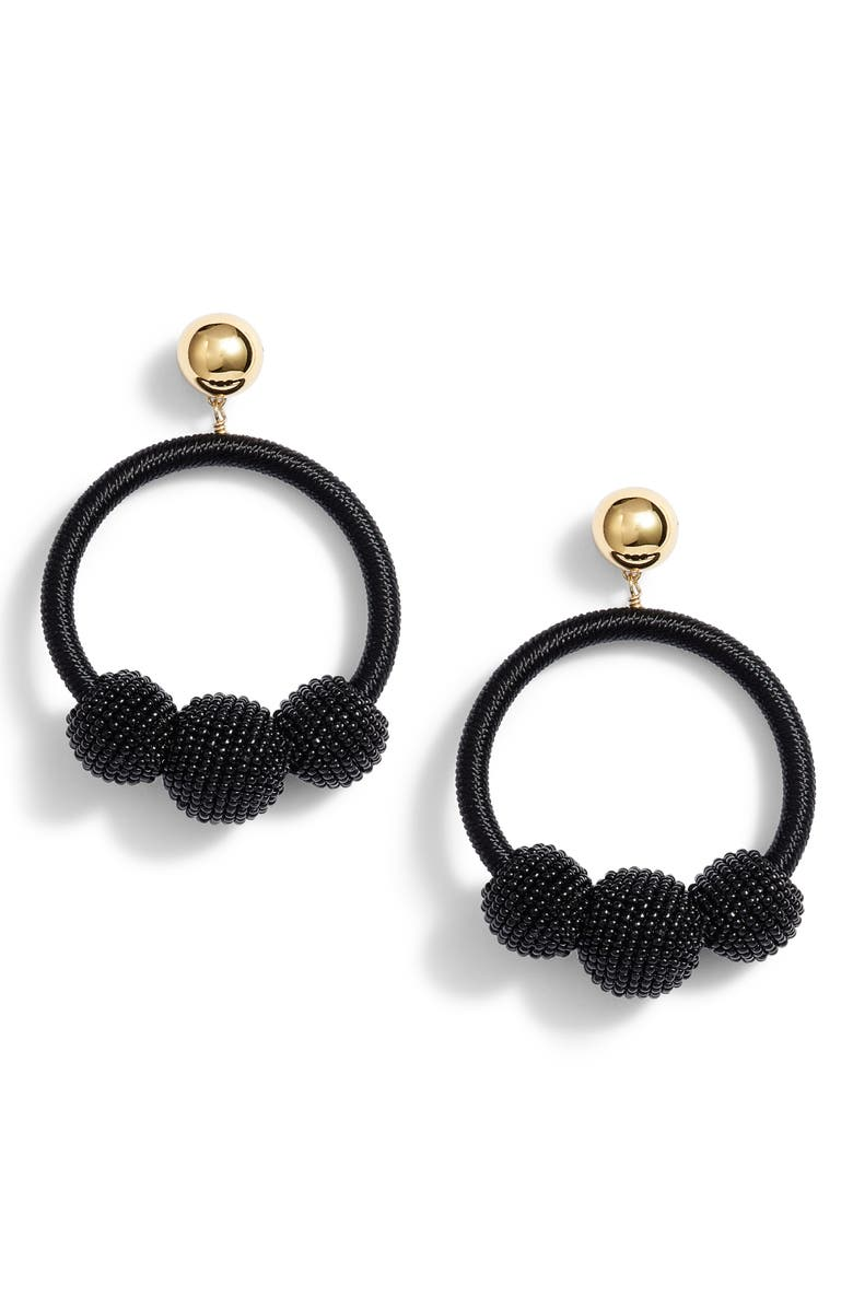 KATE SPADE NEW YORK the bead goes on hoop statement earrings, Main, color, 001