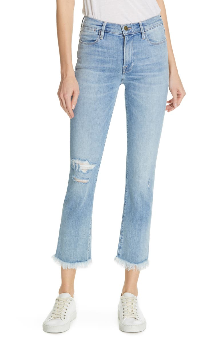 FRAME Le High Frayed Hem Crop Straight Leg Jeans, Main, color, 450
